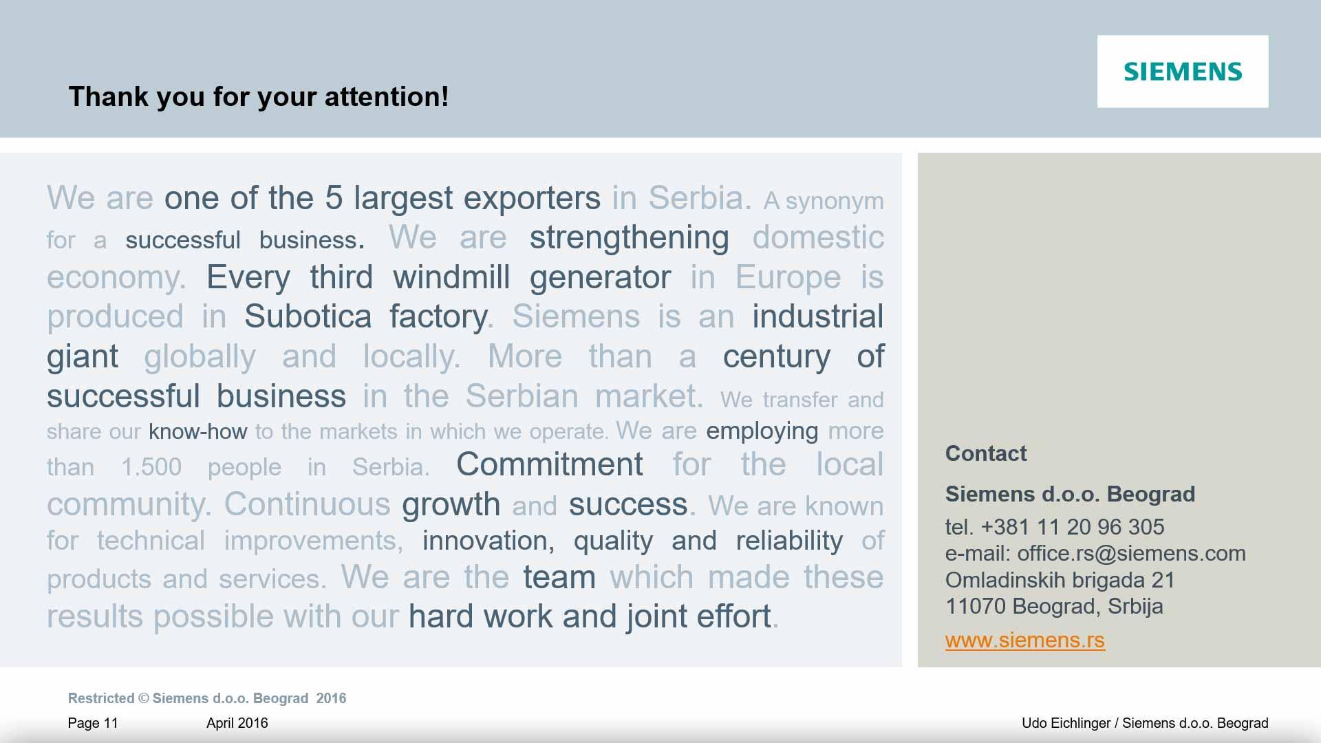 Siemens Presentation - Bane Krstonosic